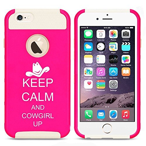 Apple iPhone SE Shockproof Impact Hard Soft Case Cover Keep Calm and Cowgirl Up (Hot Pink-White),MIP
