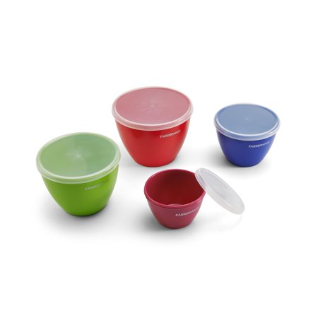 Farberware Colourworks Set of Four Multi-Colored Prep Bowls with Lids
