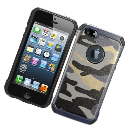 iPhone SE case, iPhone 5s case, by Insten Camouflage Dual Layer [Shock Absorbing] Hybrid Hard Plastic/Soft TPU Rubber Case Cover For Apple iPhone SE / iPhone 5S / iPhone 5/SE, Green/Black - image 3 de 4