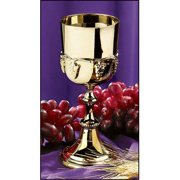 Polished Brass Communion Cup Chalice with Grapes Design, 6 Ounce