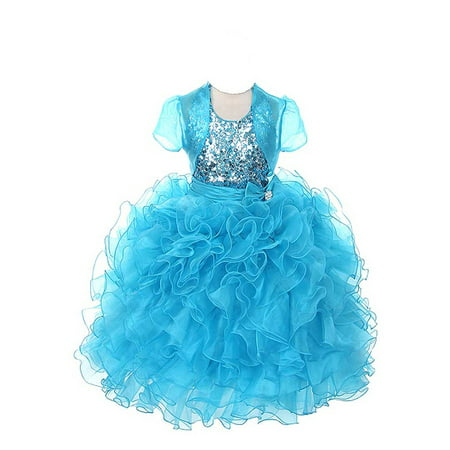 Rain Kids Girls 14 Turquoise Sequin Halter Pageant Dress Sheer Jacket](Turquoise Girls Dresses)