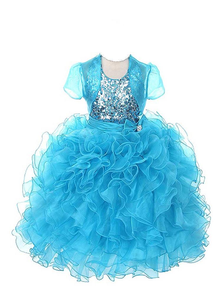 Rain Kids Girls 14 Turquoise Sequin Halter Pageant Dress Sheer Jacket
