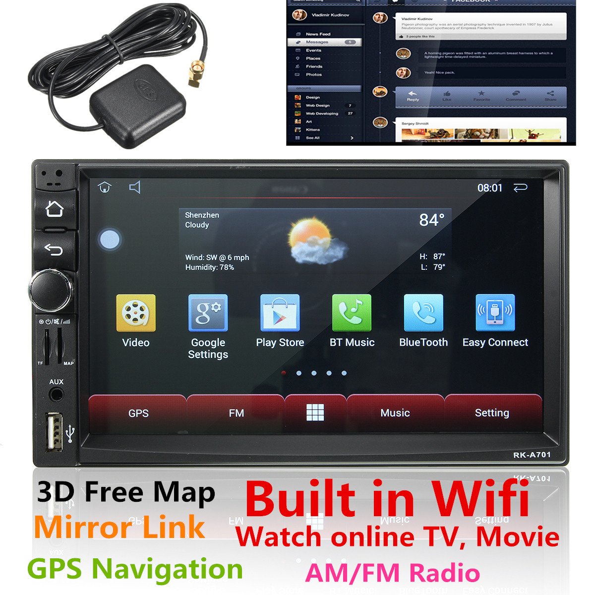 7 inch 2 Din 1080P 4K HD Wifi 3G Tough Screen Car GPS Navigator Bluetooth Four-Core Car Stereo Radio MP5 MP3 Player FM/AM Radio 3D Map Free Online TV Android 4.4 MP3 Multimedia AUX