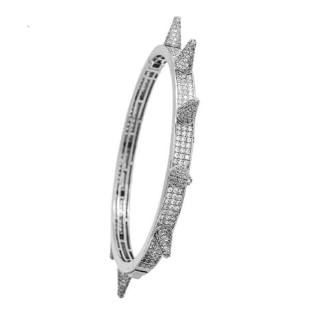 14K White Gold Plated Iced Out Hip Hop Bling 3 Row Stone Bangle With Spikes