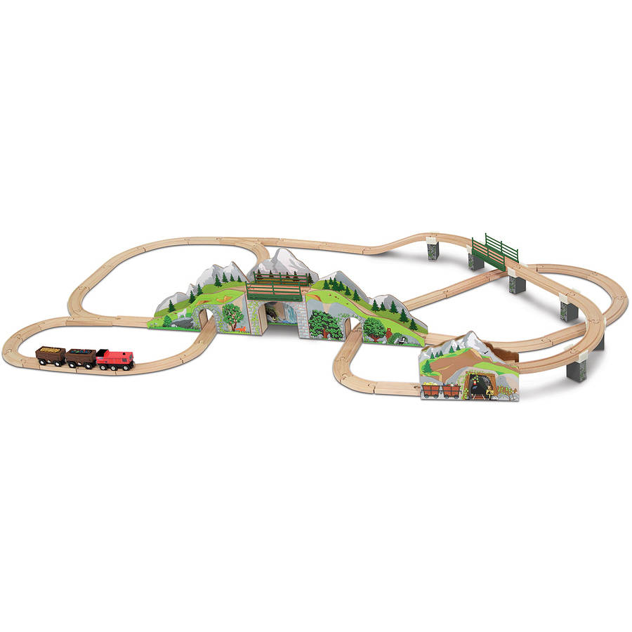 Melissa & Doug Mountain Tunnel Train Set With 2 Tunnels, Sound Effects, Magic Mine Cars... by Melissa %26 Doug