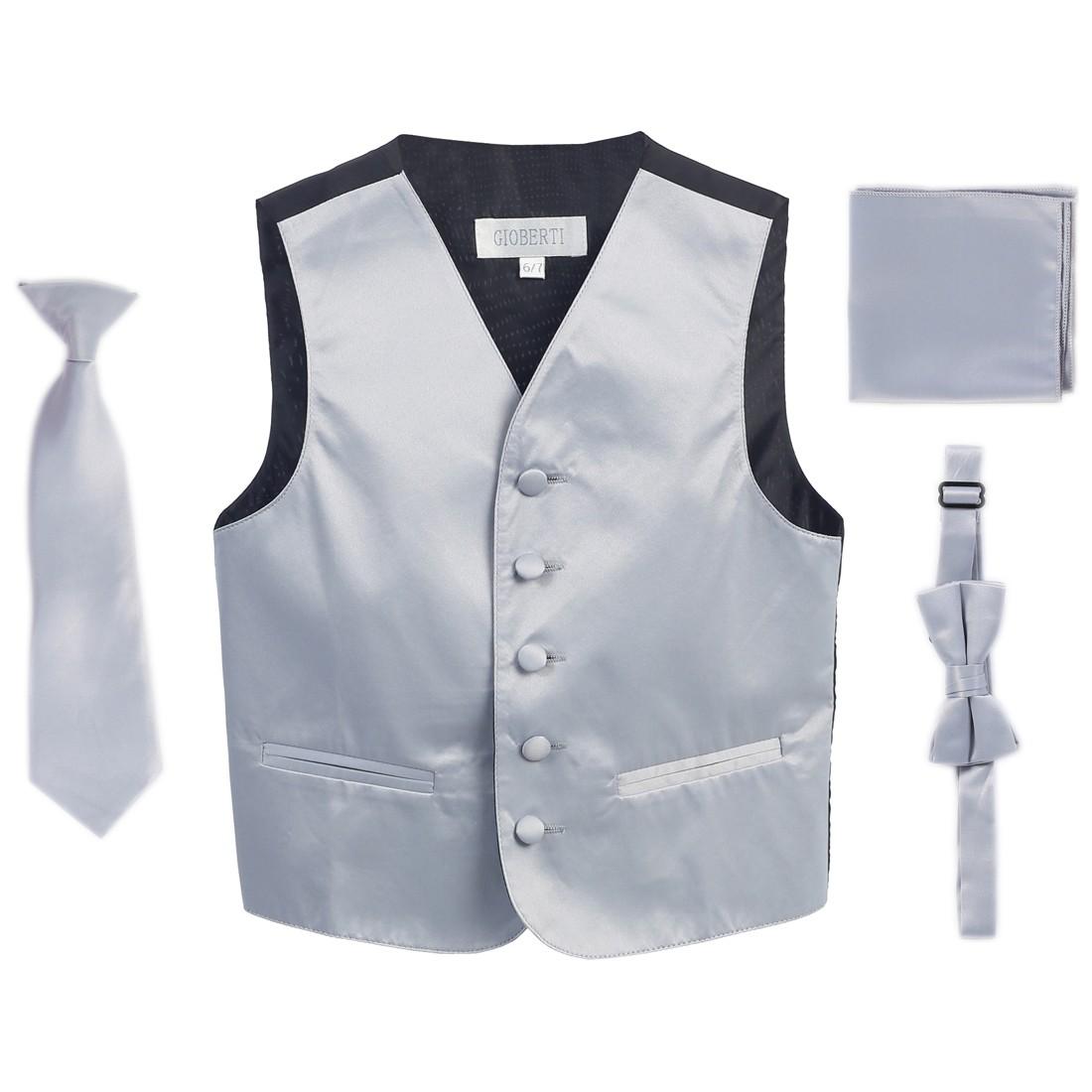 Silver Vest Necktie Bowtie Pocket Square Boys Set 4-6