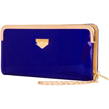 Women's Glossy Clutch Evening Wristlet Wallet Purse with Cell Phone Compartment