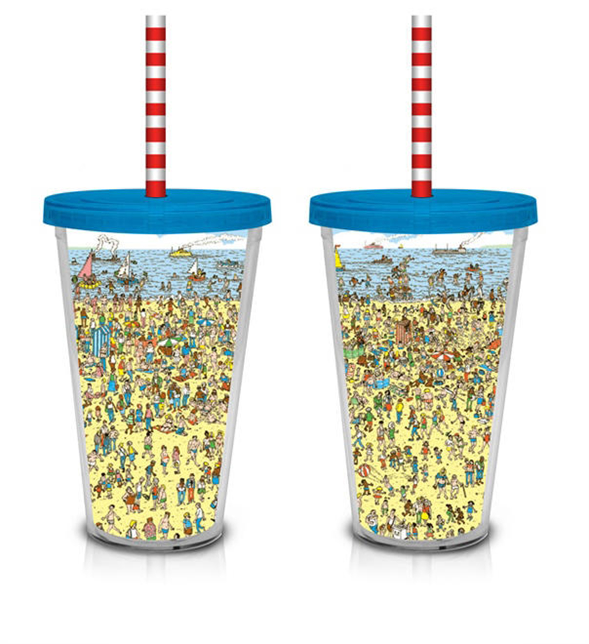 Image of Where's Waldo Beach Scene 16 oz. Plastic Cup with Straw
