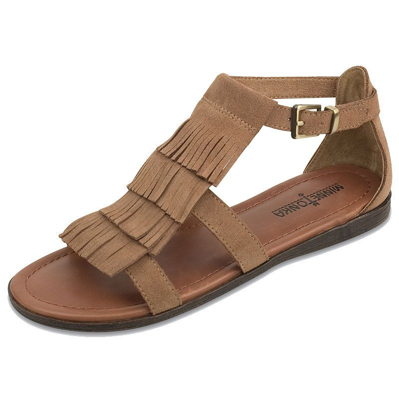 Minnetonka Womens Maui Taupe Suede Fringe Sandals by MINNETONKA