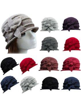 XIAXAIXU Women Ladies Warm Vintage Elegant Wool Flower Felt Hat Cloche Bucket Cap