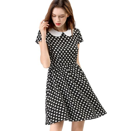 Women's Doll Collar Above Knee Contrast Polka Dot Dress XL Black - Black And White Polka Dot Headband