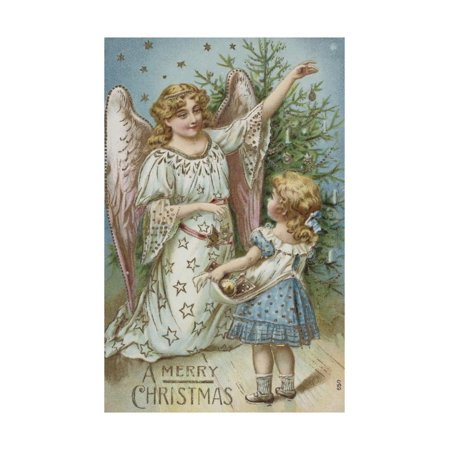 A Merry Christmas Postcard with an Angel and Little Girl Print Wall (Angels Postcard)