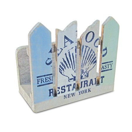 """Puzzled Fence """"Seafood Restaurant"""" Wooden Napkin Holder, 4.5 Inch Intricate & Meticulous Wood Art Handmade Tabletop Paper Towel Tissue Organizer Nautical Themed Bar Supply Home & Kitchen Accessory ()"""