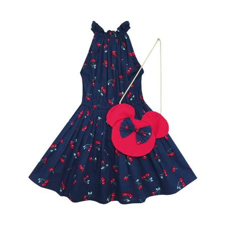 Girls Dress Cherry Fruit Print Cotton With Cute Handbag Blue 4 - Cute Ways To Dress Up