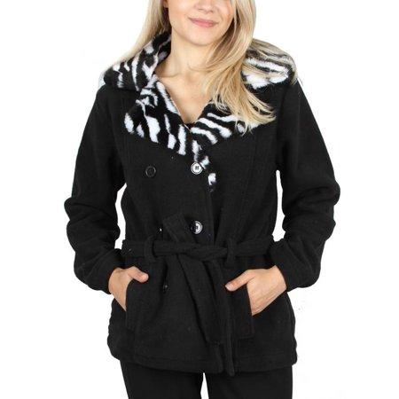 Fashion House LA Women's Zebra Animal Print Open Front Fur Collar Soft Belted Coat Jacket Outerwear Beltedt Black Small