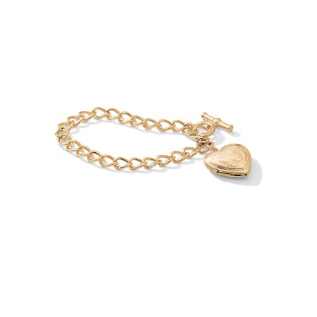 """Heart Locket Bracelet in Yellow Gold Tone 8"""""""