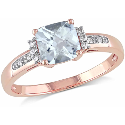 4 5 Carat T.G.W. Aquamarine and Diamond Accent 10kt Rose Gold Cocktail Ring by Generic