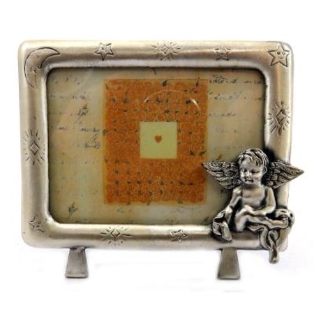 Pewter picture frame with a moon and stars engraved around the frame and an angel sitting on the bottom right corner PF111 - Star Photo Frame