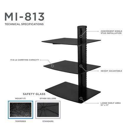 Mount-It! Floating Wall Mounted Shelf Bracket Stand for AV Receiver, Cable Box, Playstation4, Xbox1