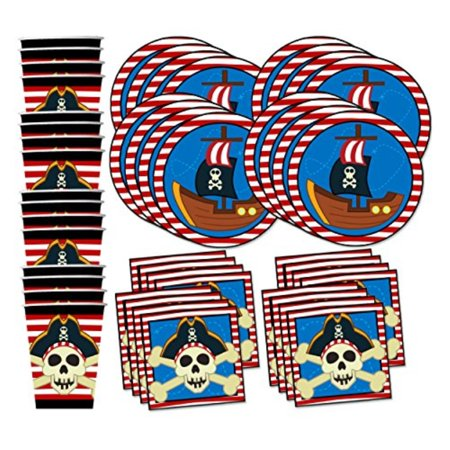 Pirate Ship Birthday Party Supplies Set Plates Napkins Cups Tableware Kit for 16 by Birthday Galore - Pirate Plates And Napkins