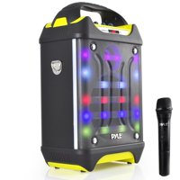 PYLE PWMA275BT - Portable Bluetooth Karaoke Speaker System, Flashing DJ Lights, Built-in Rechargeable Battery, Wireless Microphones, Recording Ability, MP3/USB/SD/FM Radio