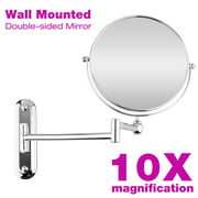 "8"" Wall Mounted Extending Folding Make Up Mirror, 10X Magnification Double Side Extending Folding Mirror"