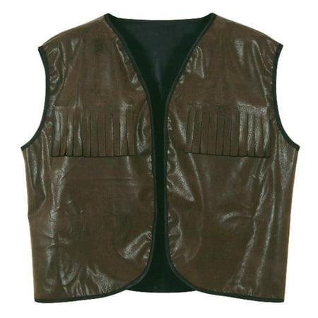 Club Pack of 4 Faux Brown Leather Cowboy Vest with Fringe Halloween - Vest Cowboy
