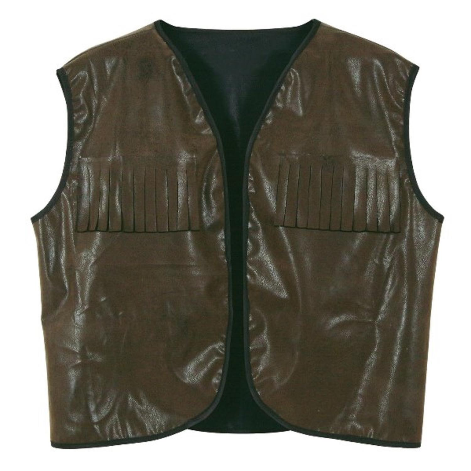 Club Pack of 4 Faux Brown Leather Cowboy Vest with Fringe Halloween Accessory