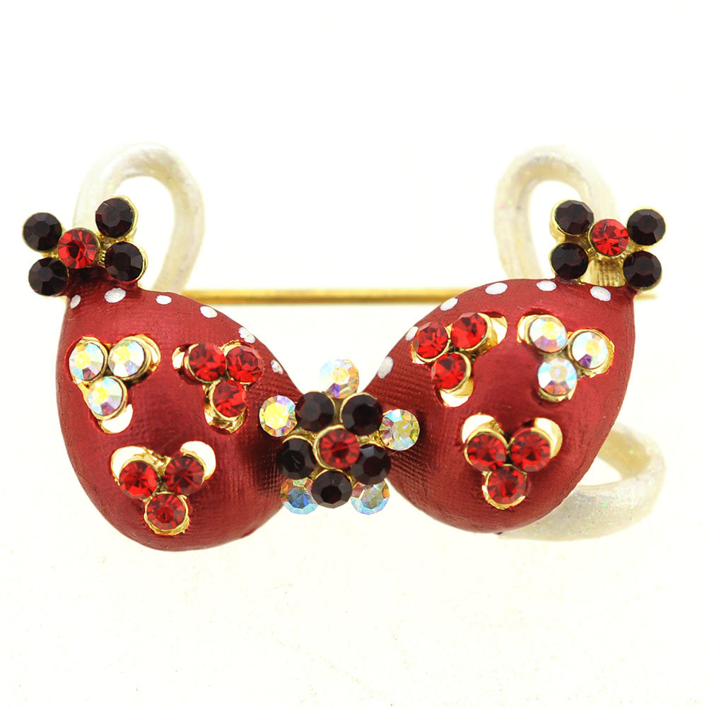 Red Flower Bikini Crystal Pin Brooch And Pendant by