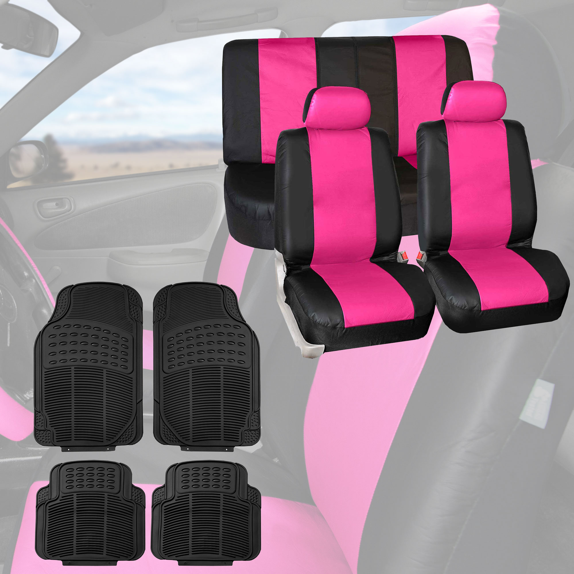 FH Group, Leather Auto Seat Covers Pink Combo With Black