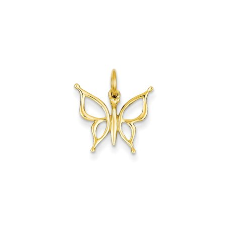 14k Yellow Gold Butterfly Charm - .7 Grams - Measures 16.9x15.4mm