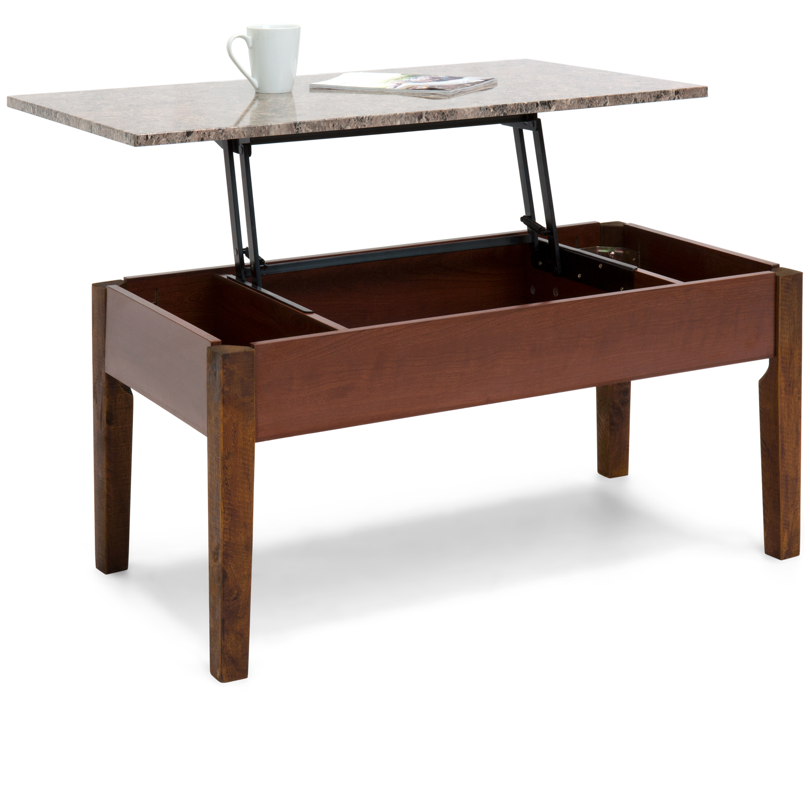 Best Choice Products Living Room Lift-up Coffee Table w/ Inner Compartment Space & Marble Design Top - Brown