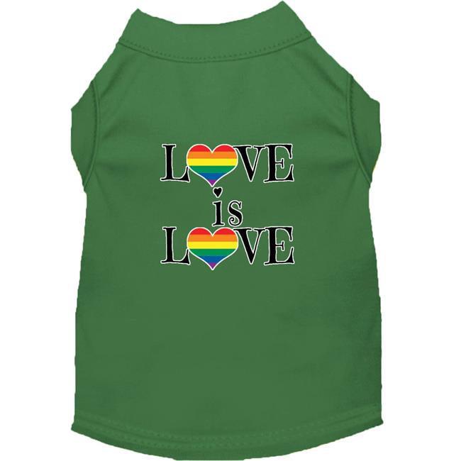 Love is Love Screen Print Dog Shirt Green XL