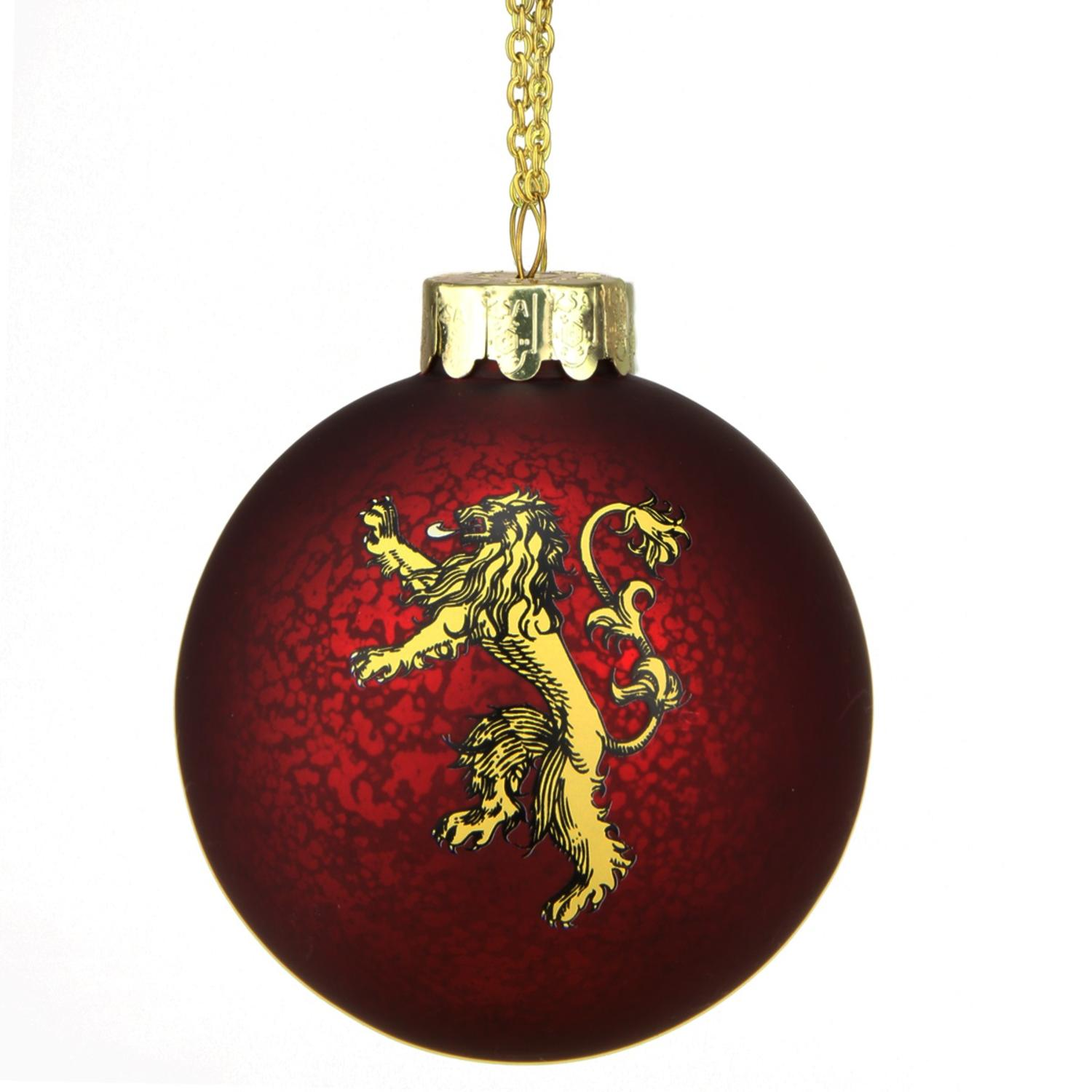 "3.5"" Red and Gold Game of Thrones Family Crest Decal Glass Christmas Ball Ornament"