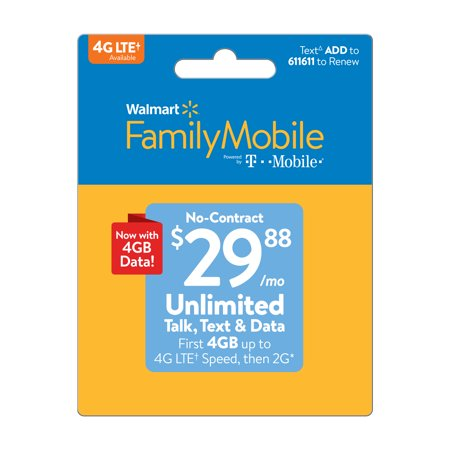 Walmart Family Mobile $29.88 Unlimited Monthly Plan (4GB at high speed, then 2G*) w Mobile Hotspot Capable (Email