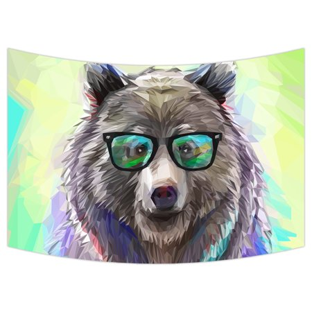 YKCG Cool Low Poly Hipster Bear Funny Cute Animal Wall Hanging Tapestry Wall Art 90x60