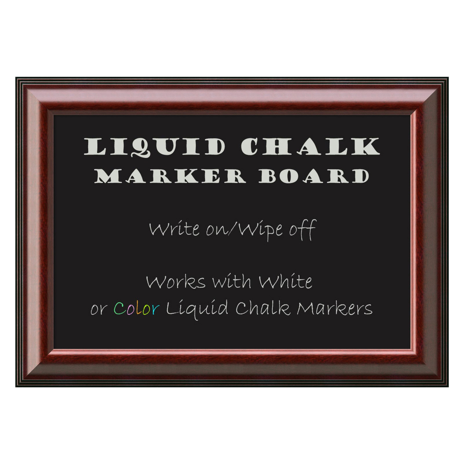 Amanti Art Cambridge Mahogany Framed Liquid Chalk Marker Board