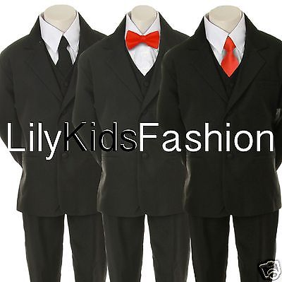 New Baby Toddler Boy Teen Wedding Party Church Formal Black Suit Tuxedo all size