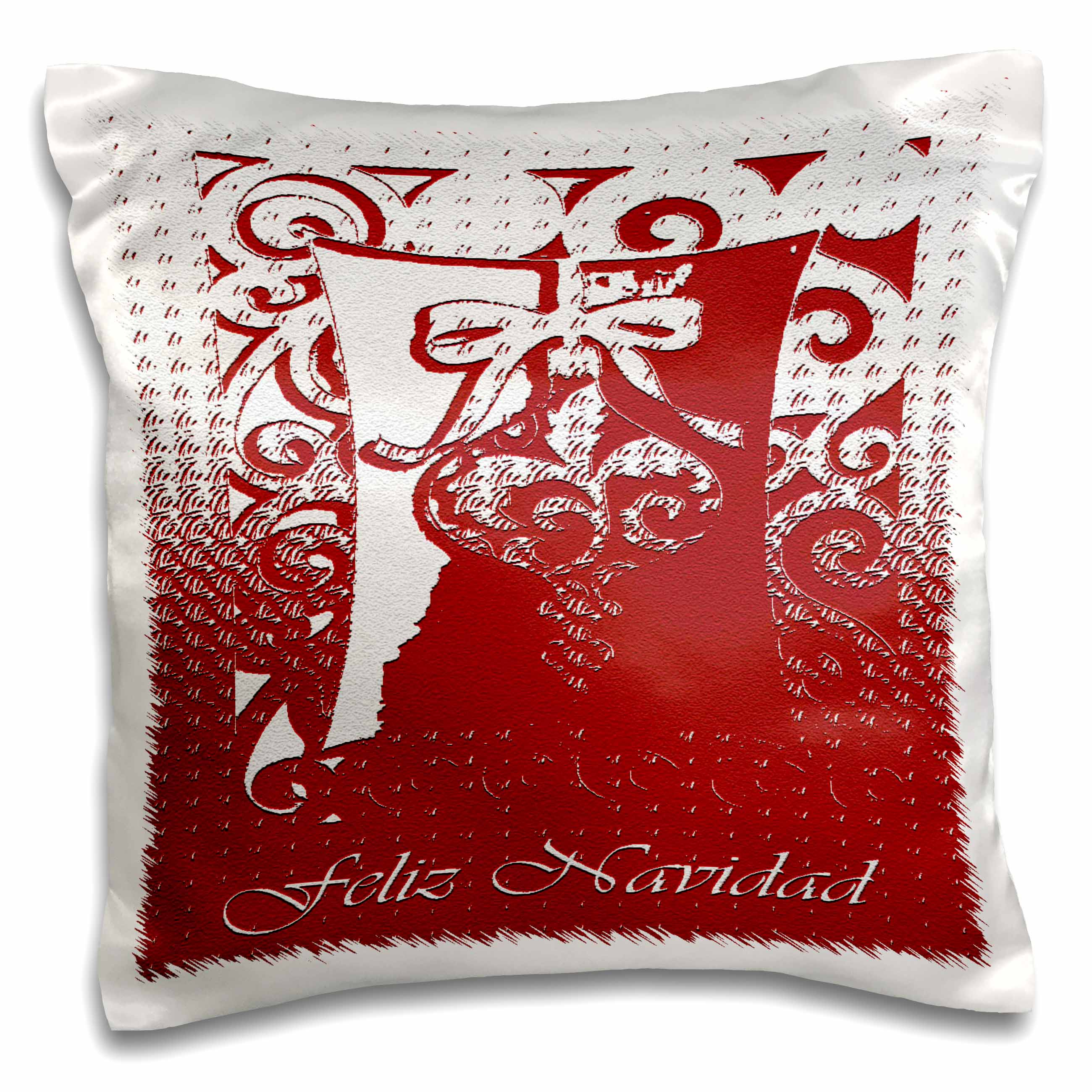 3dRose Feliz Navidad Merry Christmas in Spanish Red Ornament, Pillow Case, 16 by 16-inch
