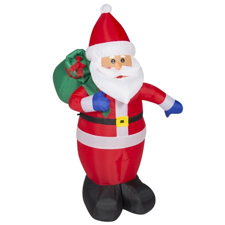 Best Choice Products 4ft Pre-Lit Indoor Outdoor Inflatable Santa Claus Christmas Holiday Home Decoration w/ UL-Listed Blower, Lights, Ground Stakes  - Red - 1920s Christmas Decorations