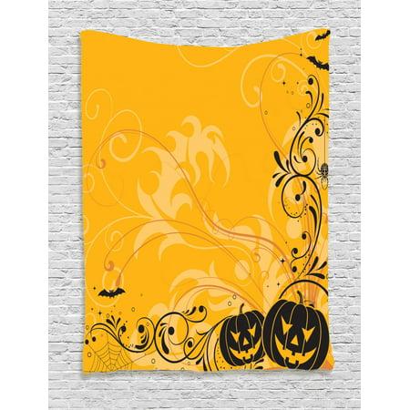 Halloween Tapestry, Carved Pumpkins with Floral Patterns Bats and Web Horror Jack o Lantern Artwork, Wall Hanging for Bedroom Living Room Dorm Decor, Orange Black, by Ambesonne](Halloween Jack O Lanterns Pattern)