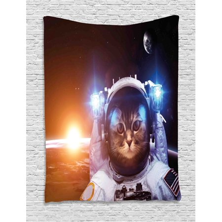 Space Cat Tapestry  Kitten In Space Suit Sun Lunar Eclipse Over Planet Stars Image  Wall Hanging For Bedroom Living Room Dorm Decor  60W X 80L Inches  White Orange And Dark Blue  By Ambesonne
