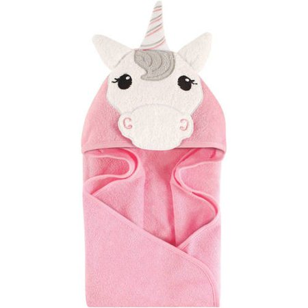Hudson Baby Woven Terry Animal Hooded Towel, Pink Unicorn (Flower Hooded Towel)