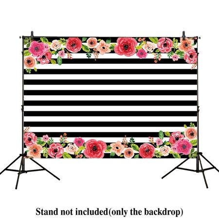 Pink Stripe Background (GreenDecor Polyster 7x5ft photography backdrops Black and white stripe watercolor pink flower banner Birthday party wedding decoration bridal shower photo studio booth background photocall)