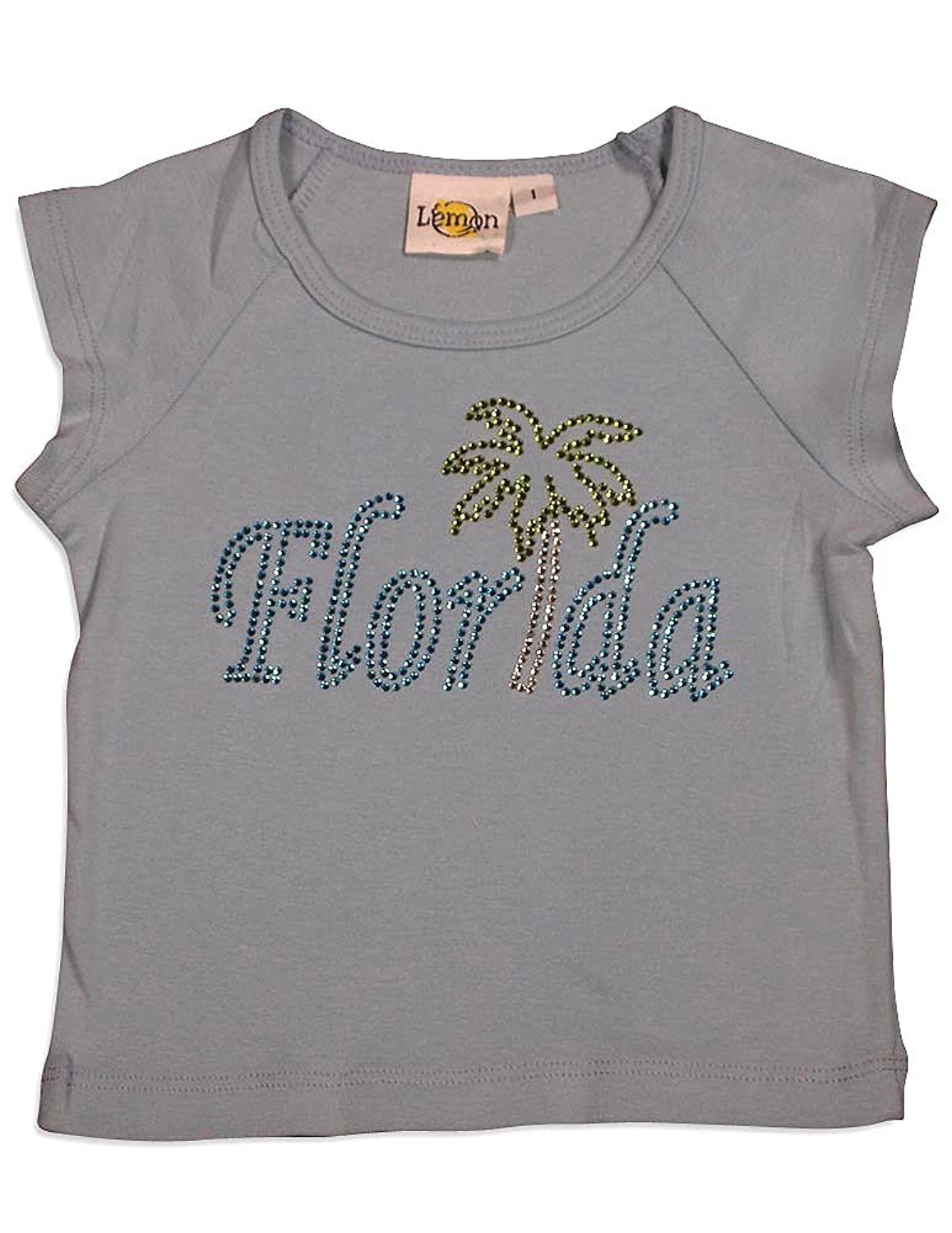 Lemon - Baby Girls Short Sleeve T-Shirt Light Blue Florida / 1