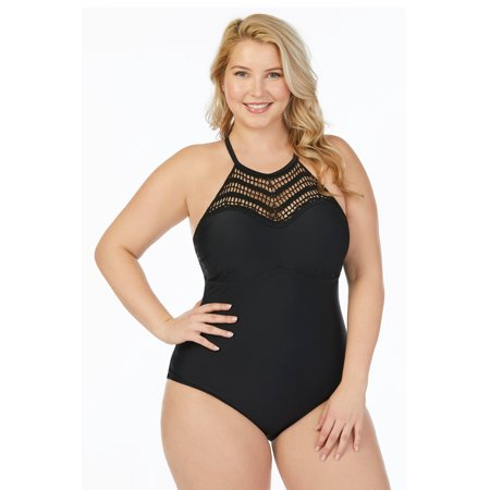 b0e1d5f5434 Raisins Curve - Raisins Curve Juniors Plus Size Flamingo Solids Lotus  Macrame High Neck One Piece Swimsuit - Walmart.com