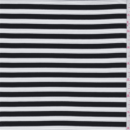 Black white stripe ottoman double knit fabric sold by the for Fabric sold by the yard