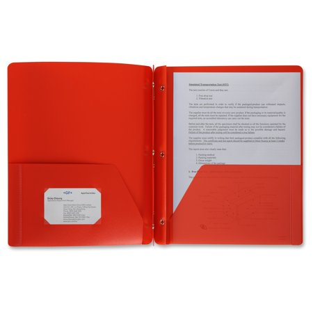 """Business Source 3-Hole Punched Poly Portfolios - Letter - 8 1/2"""" x 11"""" Sheet Size - 50 Sheet Capacity - 3 x Prong Fastener(s) - 2 Pocket(s) - Poly - Red - 1 Each"""