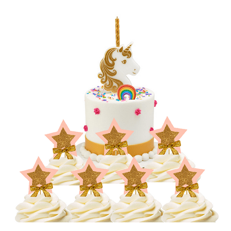 Fine Unicorn Cake Decoration Candle With 12Pack Blush Star Cupcake Funny Birthday Cards Online Barepcheapnameinfo