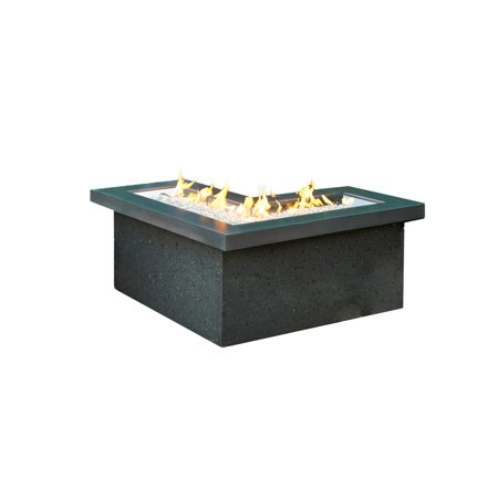 Crystal Fire Pit Table Mist Top Black Base